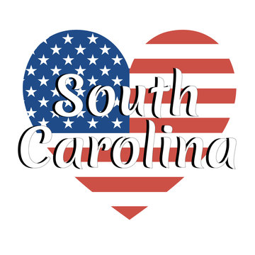 Heart shaped national flag of The United States of America with inscription of state name: South Carolina in modern style. Vector EPS10 illustration.