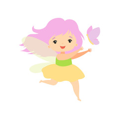 Little Forest Fairy Flying with Butterfly, Lovely Fairy Girl Cartoon Character Vector Illustration