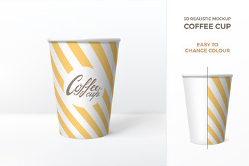 Vector 3d realistic mockup of white paper coffee cup with yellow striped pattern.  Template for drink packaging design. Easy to change colour. Isolated from background.