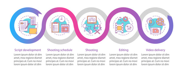 Video production process vector infographic template