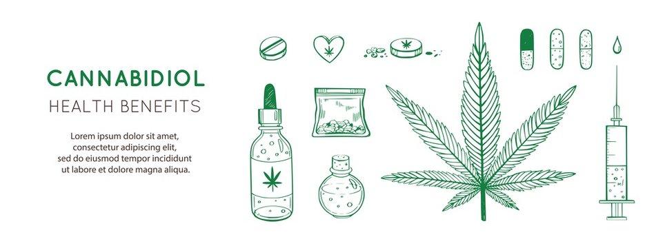 Cannabidiol Health benefits Vector background, banner. Hand drawn Infographic set of medical Cannabis, marijuana. Pills, bottles, oil and other medicinal cannabis symbols