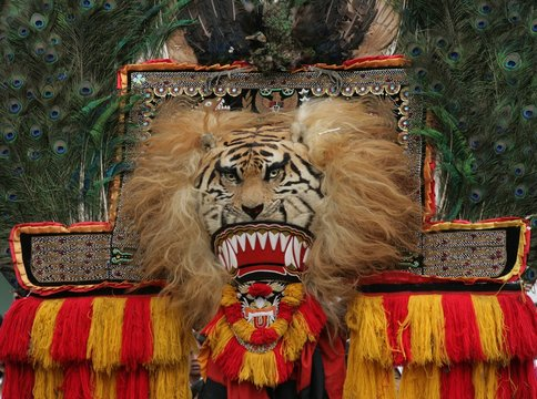 Close Up Reog Ponorogo's Mask  Reog Ponorogo, a traditional dance from Ponorogo, East Java, Indonesia