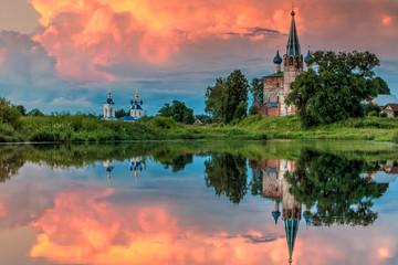 Foto op Plexiglas Zalm The Annunciation Monastery.Shuysky district, Dunilovo village. Ivanovo region. Russia. gold ring of Russia