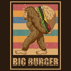 Retro Bigfoot Burger Vector illustration