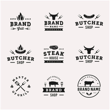 vintage bbq / barbeque grill vector logo design