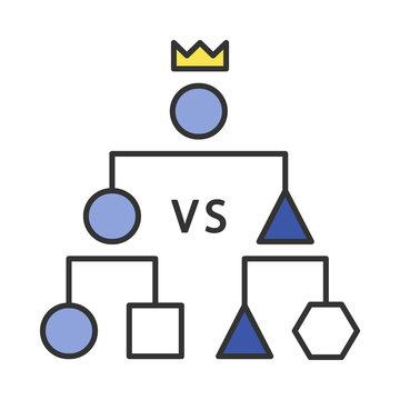 Double-elimination tournament color icon