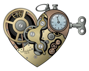 Mechanical heart in steampunk style. Vector illustration.