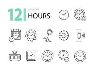 Hours line icon set. Clock, wristwatch, time zones. Time concept. Can be used for topics like deadline, morning, schedule