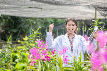 Smile Scientists hold tablets and magnifiers, happy with success. Researcher botanical research orchid wearing Scientist shirt and her hand holding a Tablet. Wall mural