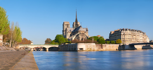Paris, riverside panorama with Notre-Dame cathedral