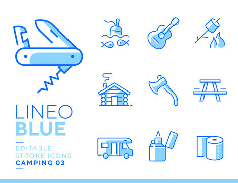 Lineo Blue - Camping and Outdoor line icons