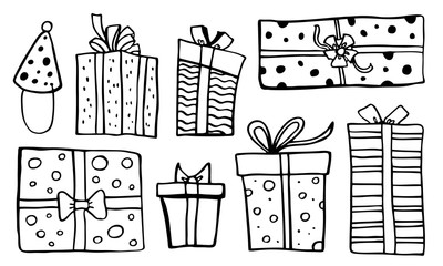 Set of stylized different gift boxes. Hand drawn cartoon vector black sketch illustration Wall mural