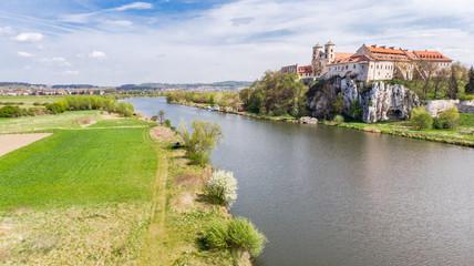 Aerial view of Benedictine abbey, monastery  in Tyniec near Krakow, Poland.