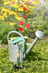 Watering can as symbol for gardening in summer, copy space