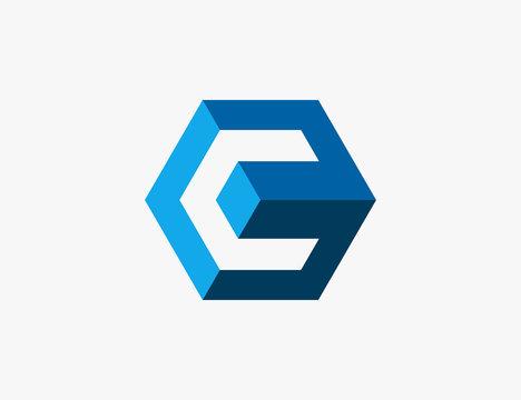 Abstract C Cube Hexagon Logo Design Vector Illustration