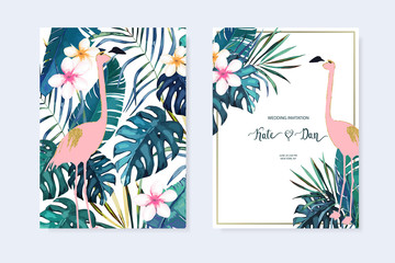 Tropical frame withl jungle leaves and pink flamingo.Vector aloha illustration. Watercolor style