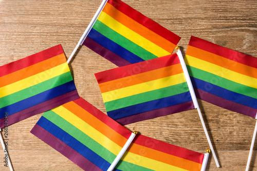 LGTB or rainbow flag  Gay pride flag on wooden table