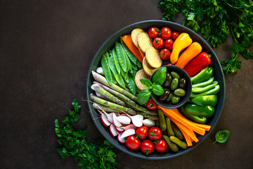 Crudites platter, view from above