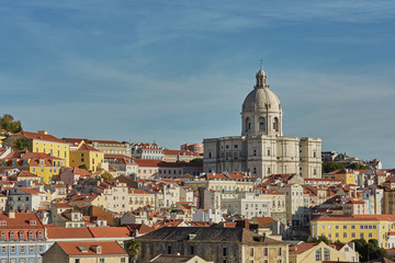 View of national pantheon and cityline of Alfama in Lisbon, Portugal.