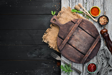 Wall Mural - The background of cooking. Top view. Banner Free space for your text. Rustic style.