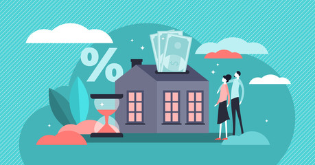 Mortgage vector illustration. Flat tiny house purchase debt persons concept