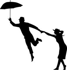 Couples in an Umbrella Silhouette Vector