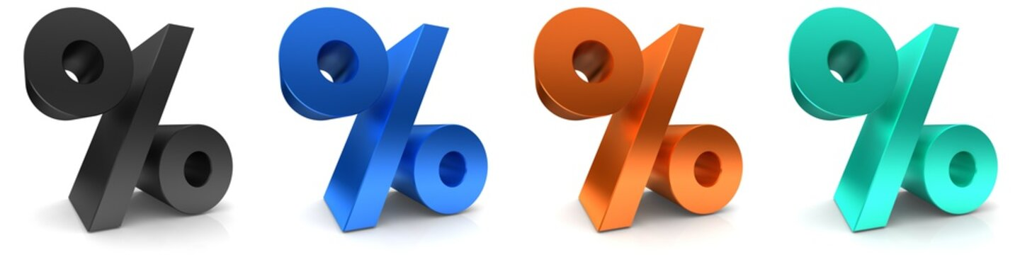 percent sign percentage icon per cent symbol 3d rendering black blue orange turquoise interest rates isolated on white