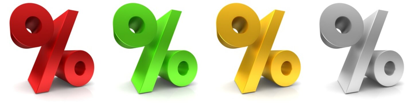 percent percentage sign % symbol interest rate icon red green gold yellow silver gray 3d render graphic sale discount savings offer price drop off set isolated on white background