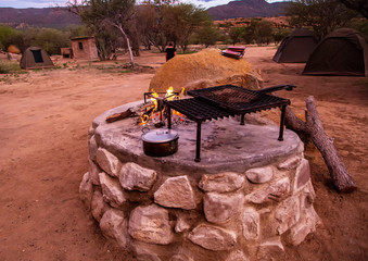 Camp fire at the Erongo Mountains in northern Namibia