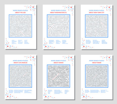 Word search puzzle set. Educational game about the United States of America and Major Cities in the USA: Washington DC, New York, Los Angeles, Miami and State of Hawaii for adults, teenagers and kids.