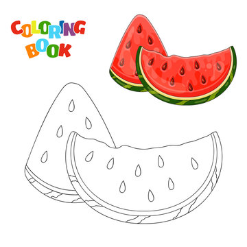 Coloring book page for preschool children with outlines of watermelon slices and a colorful copy of them. Vector illustration of watermelon for kids education.