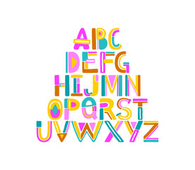 Hand drawn abstract colorful alphabet. Geometric letters from A to Z. Isolated on white background. Vector colorful uppercase alphabet. Designer artistic font.