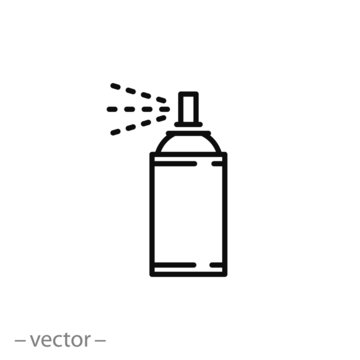 paint aerosol can icon, airbrush, spray paint line sign on white background - editable stroke vector illustration eps10