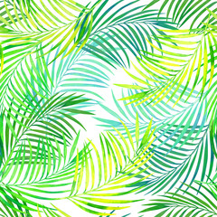 Keuken foto achterwand Tropische Bladeren seamless tropical pattern of coconut leaves watercolor texture, tropical leaves on a sunny day on a white background.