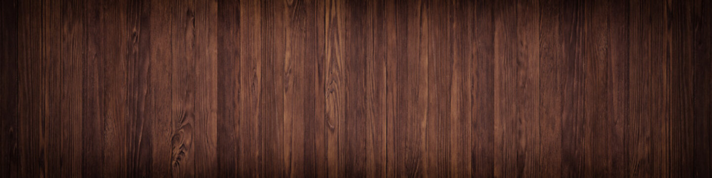 Dark texture wall of brown plank, background wooden surface,  panoramic view