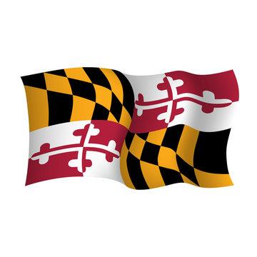 Maryland vector waving flag. USA state symbol. Vector illustration.