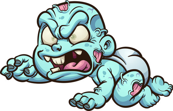 Crawling baby zombie with diaper clip art. Vector illustration with simple gradients. All in a single layer.