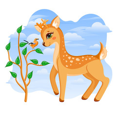 Cute vector baby fawn character illustration with eurasian jay on the branch. Blue sky background.