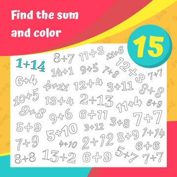 Find the sum and color addition worksheet set. Coloring book page. Math game. Addition, writing and search skills educational exercise. Vector illustration.