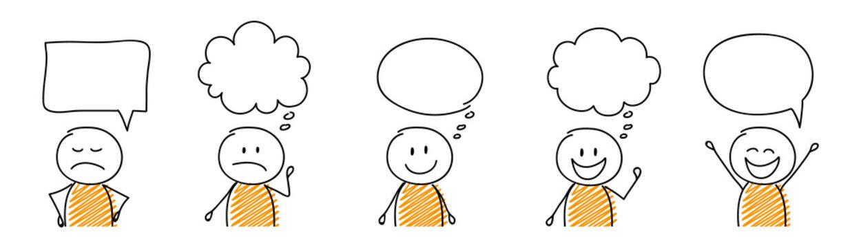 Set of cartoon stickmen with empty speech bubbles. Vector