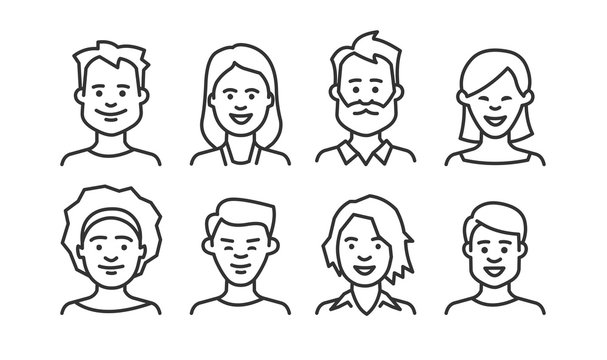 People avatar icon set. Vector line style.