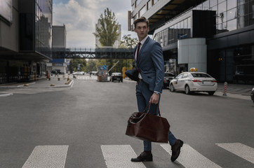 Businessman street city. Business concept.Outdoors professional people. Man suit. Office worker. Success. Manager