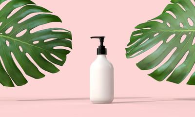 Fototapeta Blank white cosmetic bottle with a tropical leaf. 3D Render obraz