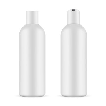 Cosmetic bottle mockup with opened and closed cap isolated on white background. Vector illustration