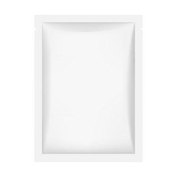 Sachet mockup isolated on white background. Vector illustration