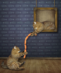 The cat is  leaning out of a picture and gives some sausages to his friend.