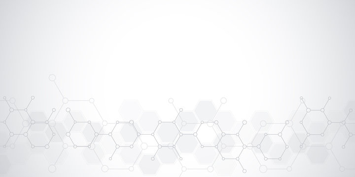 Abstract background of science and innovation technology. Technical background with molecular structures and chemical engineering.