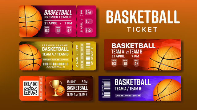 Stylish Design Basketball Game Tickets Set Vector. Collection Of Tickets Invitation For Visit International Tournament. Playing Ball Information Of Gate, Raw And Seat Number Realistic 3d Illustration