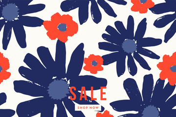 Hand Painted Bold Blossoms Sale Banner Design
