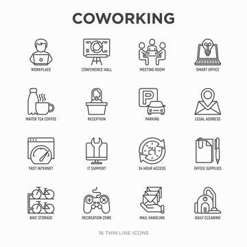 Coworking office thin line icons set: workplace, meeting room, conference hall, smart office, parking, reception, address, fast internet, 24 hour access, IT support, bike storage. Vector illustration.